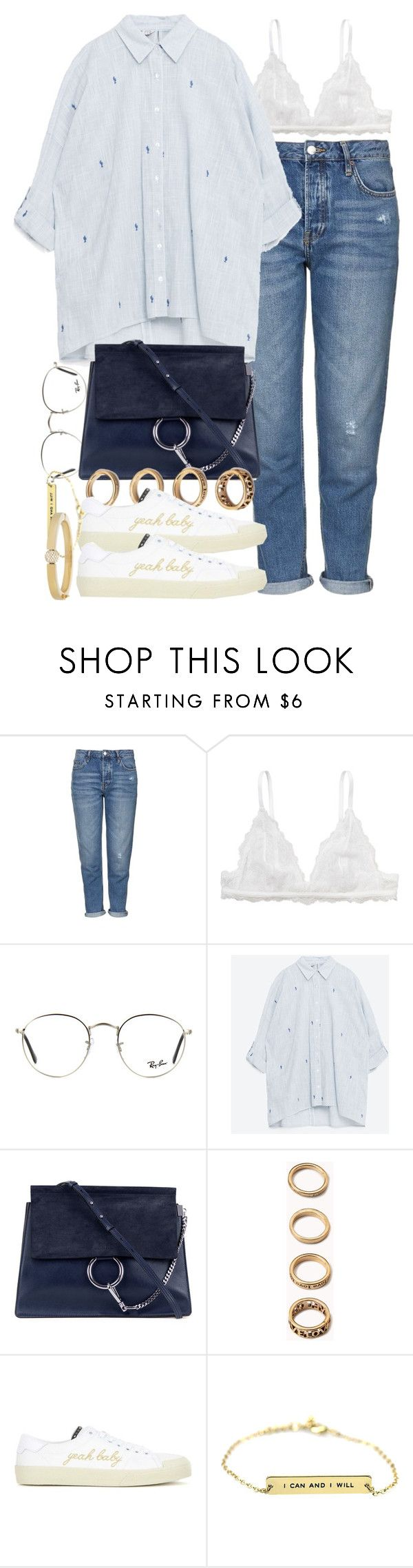 """""""Sin título #3826"""" by hellomissapple ❤ liked on Polyvore featuring Topshop, Monki, Ray-Ban, Chloé, Forever 21 and Yves Saint Laurent"""