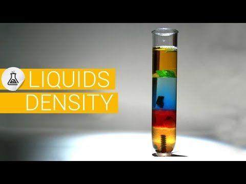Densité des liquides, masse volumique,  poids des liquides, densité des matériaux experience - YouTube