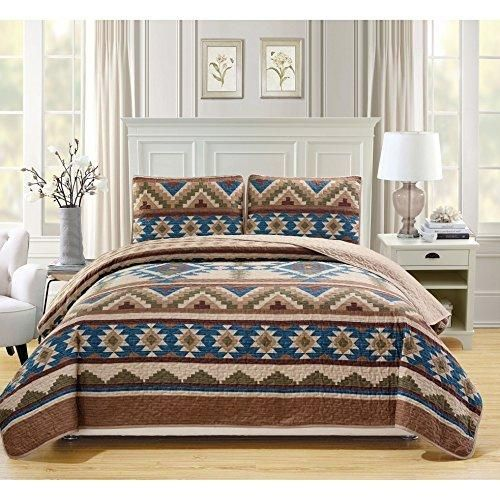 Brown California King Southwest Theme Bedspread SetBlue Native American  Geometric