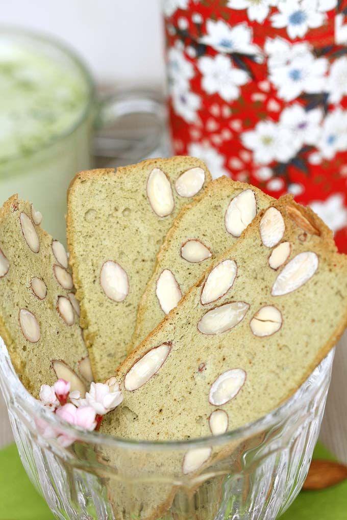 MATCHA GREEN TEA ALMOND BISCOTTI [veggiecravings] [biscotti, cantuccini, cantucci]