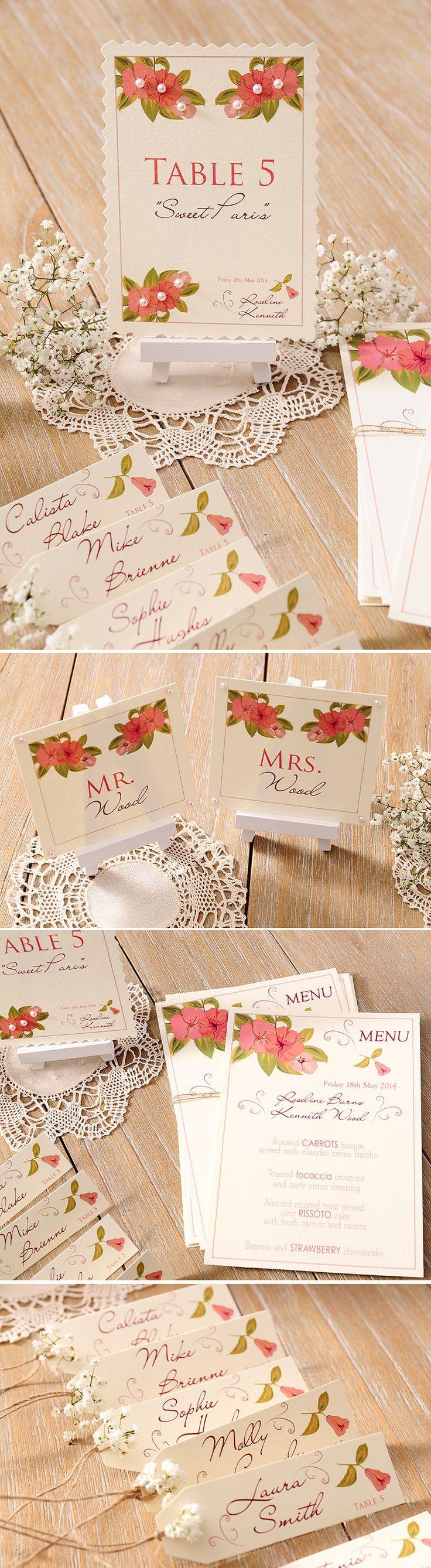 Papeleria de boda y detalles para una boda en el campo: Meseros, minutas y marcasitios.