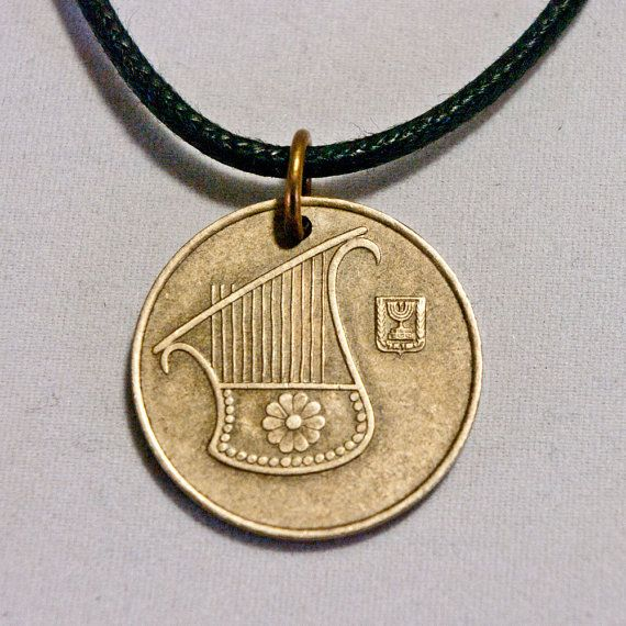 Israel Lyre Coin necklace Pendant charm by AlterDecoCoinsnBeads