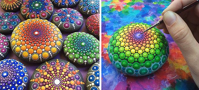 Artist Turns Ocean Stones Into Tiny Mandalas By Painting Colourful Dot Patterns | DeMilked