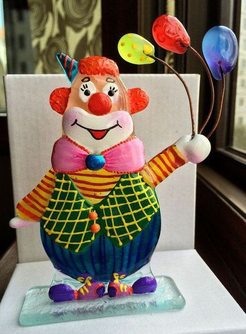 RED-HAIRED CLOWN #glass #fusing techniques Red-haired clown is made of glass and painted by author. Fine work from glass in fusing technique can complement your house with cr... #decor #figurine #art #talisman #sculpture #harlequin #funnyman #fused