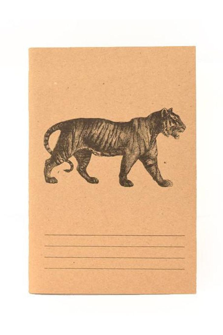 "Small notebook with kraft colored cardstock cover and lined paper inside.    Dimensions: 4.5"" x 6.5""   Tiger Notebook by Blithe and Bonny. Home & Gifts - Gifts - Stationery & Office Portland, Oregon"