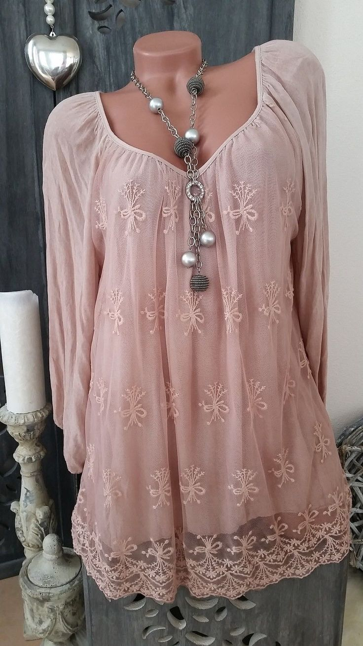 TUNIKA Kleid Häkelspitze Lagenlook Stickerei beige creme NEU ITALY 42 44 46