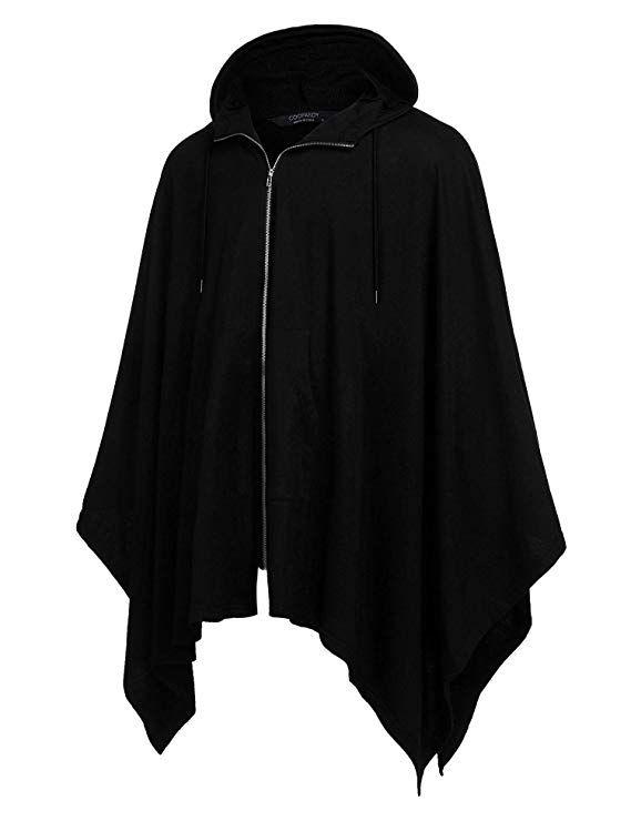 c8623369e476 COOFANDY Men s Poncho Cape Hoodie Fashion Coat Cardigan Pullover Cloak at  Amazon Men s Clothing store