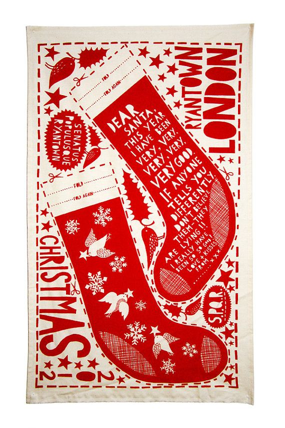 Rob Ryan Stocking Tea Towel - I'd wipe up all day at Christmas if I could use this delight!