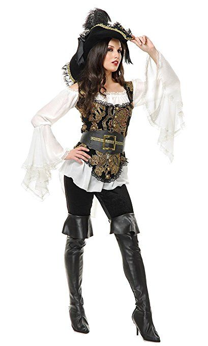 Women's Pirate Lady Black and Gold French Design Vest with Black Lace Trim and Gold-Tone Buttons