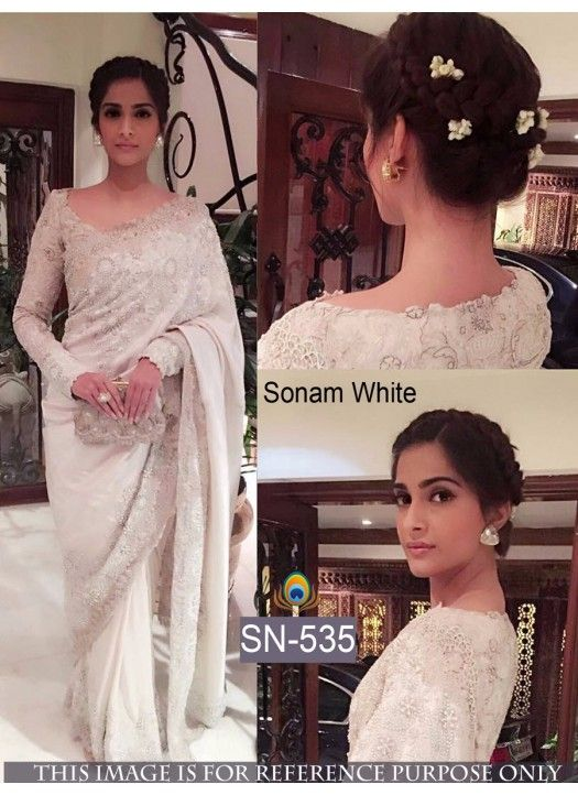 Sonam Kapoor Nayon Net With Georgette White Saree