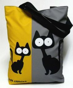 Sac noir et jaune moutarde + appliqué chat Cat Bag
