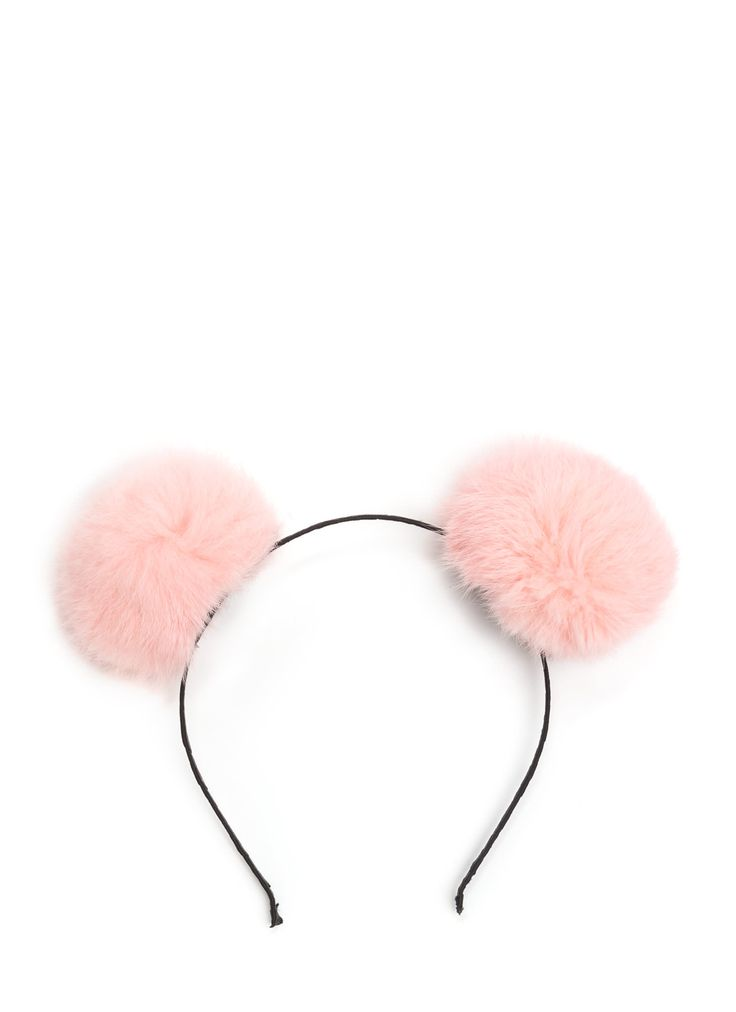 Fur Your Ears Only Pom-Pom Headband RED BLACK IVORY PINK - GoJane.com