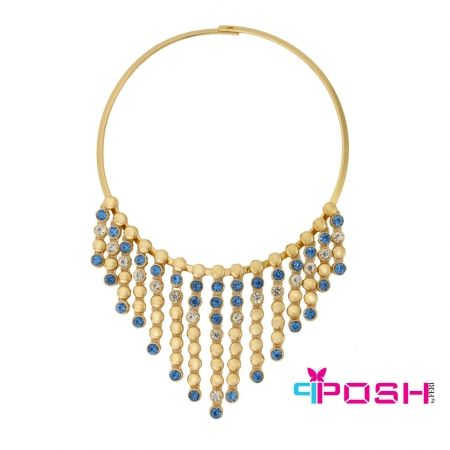 - Fashion necklace - Gold toned choker hoop - Dangling gold beads with alternating blue and white stones - Slide and lock closure - Dimensions: 44cm circumference. Bib length 8 cm, bib width 14.5 cm.