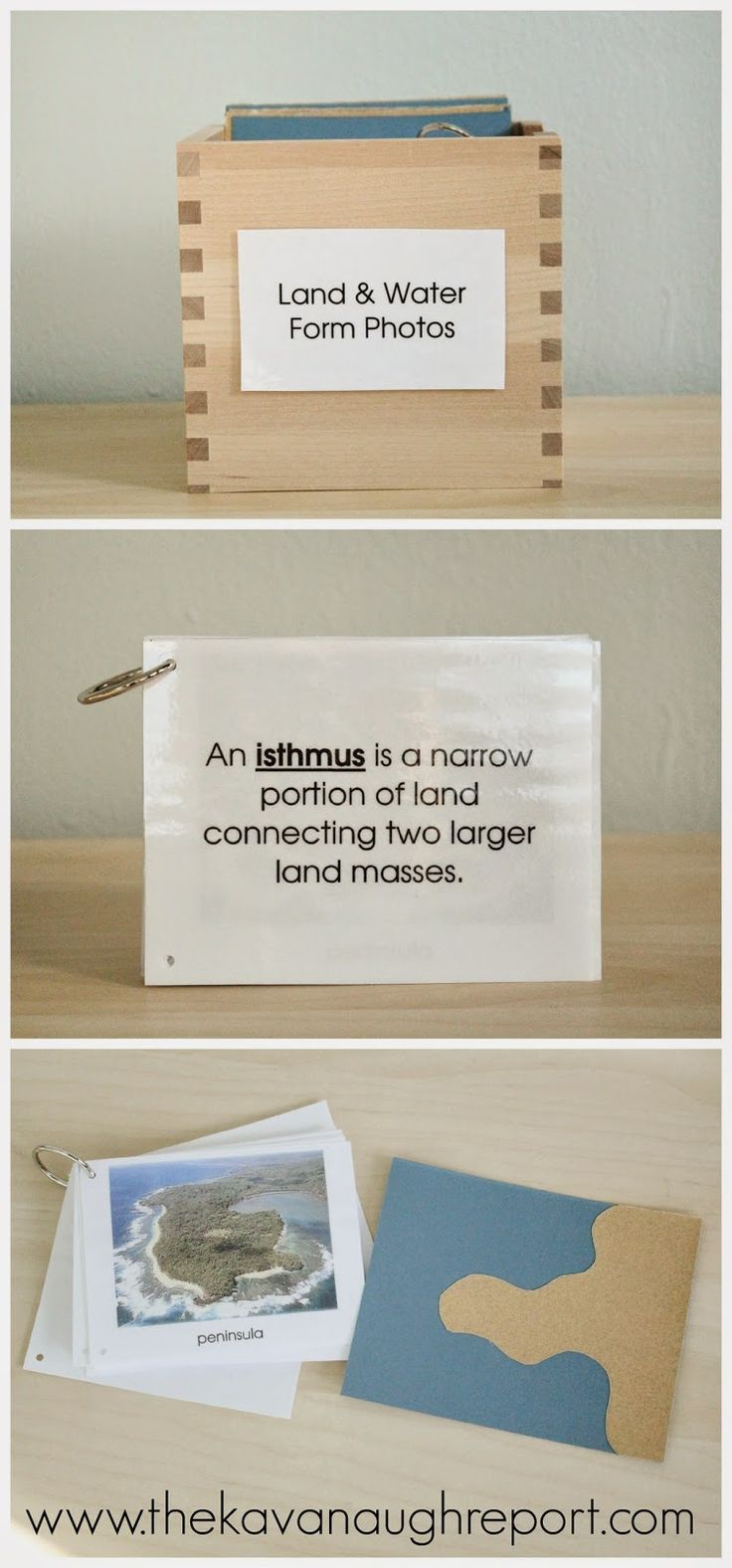 Montessori Geography Trays -- Land and water forms work. Sandpaper cards and book.