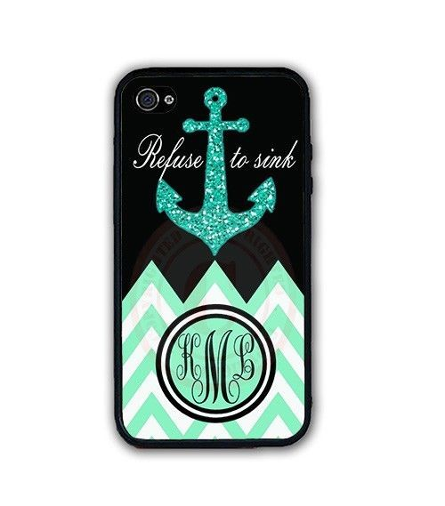 Refuse To Sink Mint Black Chevron Anchor Monogram Custom Case For iPhone 7 6S SE…