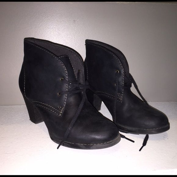 Clarks Boots Booties Size 7.5 Clarks boot booties with heel, black, leather. Super cute! Bought but just didn't wear as much as I thought I would. Around 2 inch heel, very comfy. Light wear. Clarks Shoes Ankle Boots & Booties