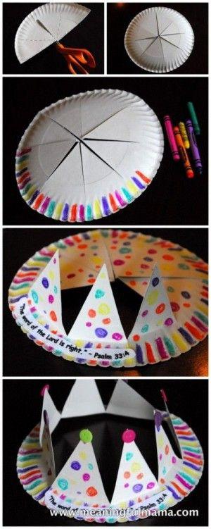 kroontje van papieren bordje (idee : daar nog ijsdoos op zetten?? = hoed met rand)
