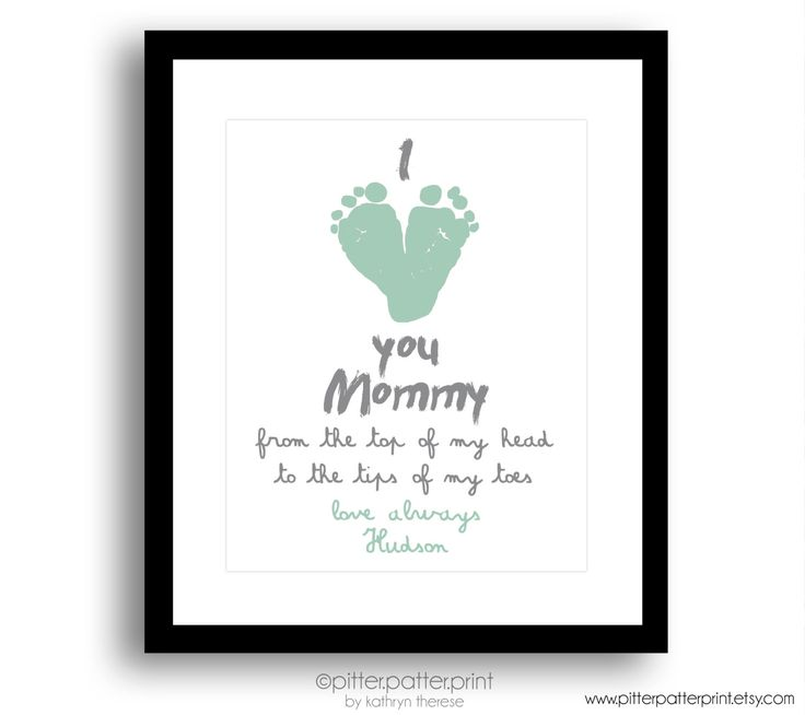 New Mom Gift, First Mother's Day Gift, Mint, Personalized I Love you Mommy Baby Footprint Art, Gift for Grandmother, Gift for New Grandma by PitterPatterPrint on Etsy https://www.etsy.com/listing/229674743/new-mom-gift-first-mothers-day-gift-mint