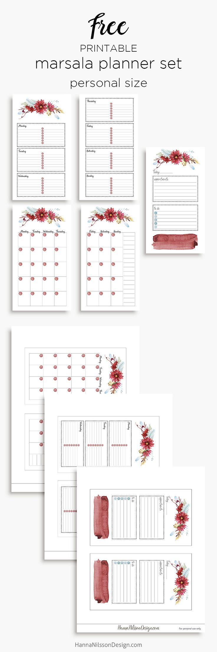 Free Printable Marsala Floral Planner Inserts in A5 and Personal Size {day on one page, week on two pages, month on two pages} from Hanna Nilsson Design