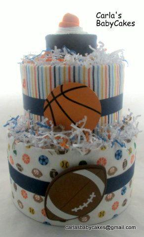 Boy diaper cake   Sports diaper cake   Baby shower gift   Baby Shower Decoration   New mom gift   Baby Diaper Cake   Baby Boy Gift by MsCarlasBabyCakes on Etsy