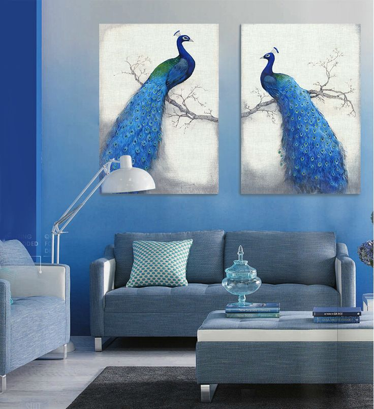 Find More Painting & Calligraphy Information about Peacock blue animal bird branch feathers of modern fashion canvas wall art Home Decoration Mediterranean style free shipping,High Quality decor,China feather Suppliers, Cheap feather choker from WHAT ART on Aliexpress.com