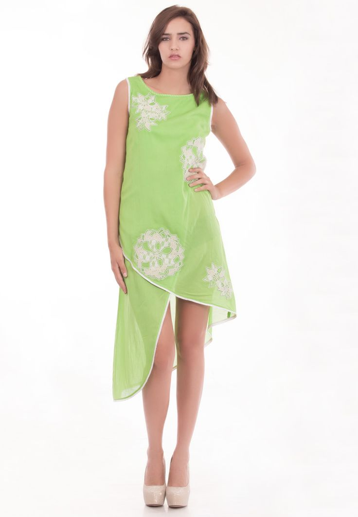 Boat Neck Summer Dress -> - Crushed Cotton - Light Green Color - Patch work Embroidery - Boat Neck - High/Low Hem - Dry Clean  Order Now : http://www.rinkusobti.com/clothing/boat-neck-summer-dress