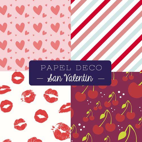 Diseños increíbles para colocar en tus tarjetas de san valentín / día de los enamorados. Hay varios en craftingeek.me/papel-deco/ para que uses gratis, éstas son sólo mis sugerencias románticas.