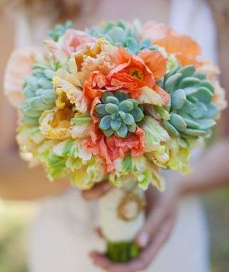 Home : Ten Super Beautiful Ways With Flowers  Succulent | Bouquet BouquetColors Combos, Coral And Aqua Wedding Flower, Wedding Bouquets, Blue Tulip Bouquets, Colors Palettes, Colors Combinations, Colors Schemes, Coral Bouquets With Succulents, Succulent Bouquets