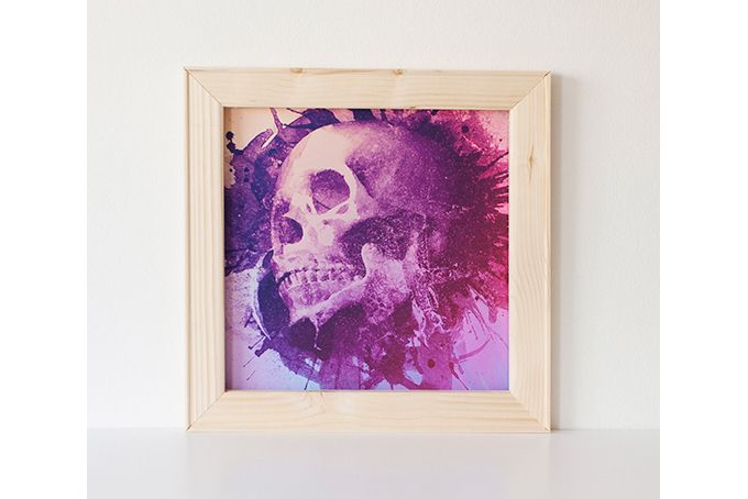 Purple Skull Print by Black Owl