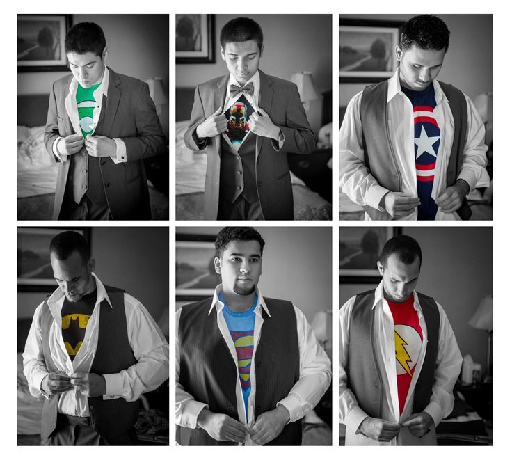 """Superhero wedding pics Groomsmen and groom picture idea. Loved a superhero wedding pic idea I had seen so we decided to put a little spin on it with the help of the photographer. We have some Avengers and Justice League but I like to call us """"The League of Extraordinary Groomsmen"""". The guys loved it. Guys wedding pics Thanks to our photographer Alex Istormin for making it happen!"""
