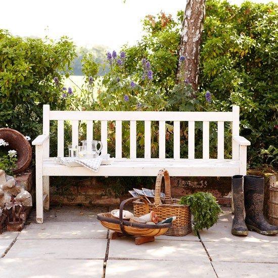 Norfolk Farmhouse. ~ white garden bench