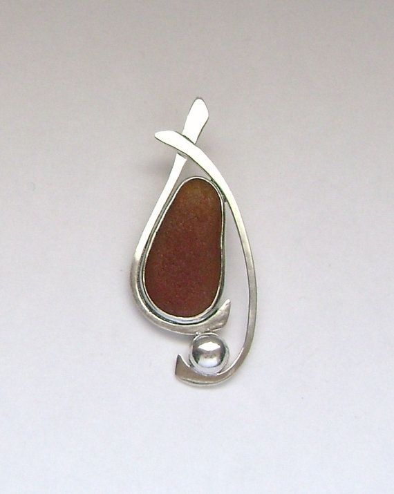 Sea Glass Jewelry Sterling Brown Sea Glass by SignetureLine