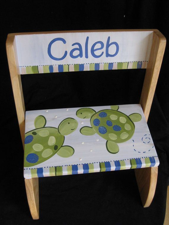 personalized chair step flip stool turlte by andrewandelladesigns, $49.50