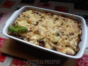 Zapiekanka makaronowa z mięsem mielonym i pieczarkami