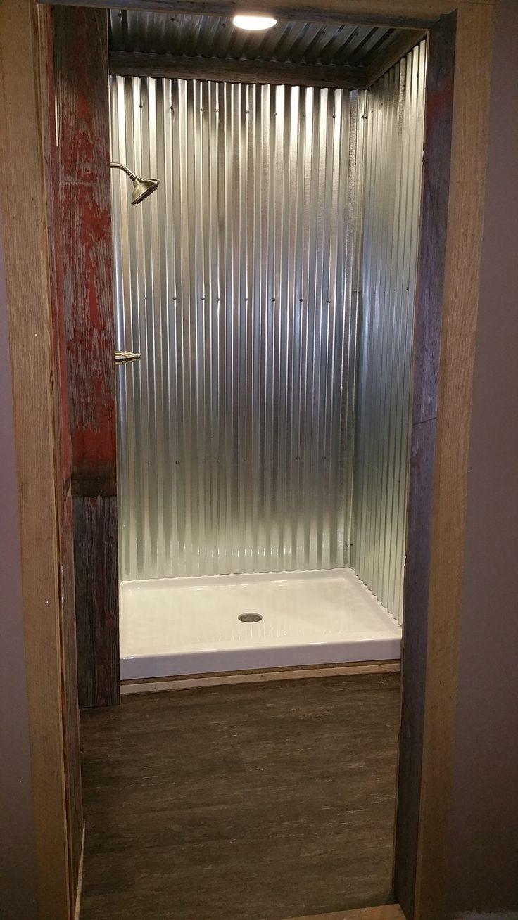 Galvanized steel shower.