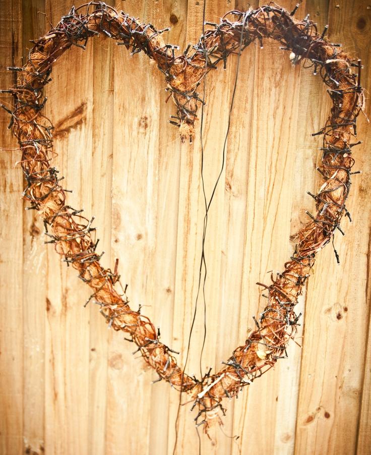 Hand Made Heart with Solar Powered Fairy Lights...........
