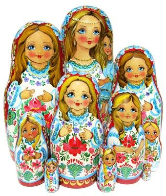 Mother and daughter are hand painted on this authentic 10 piece Russian babushka nesting doll. Free shipping. Only 1 available. Buy now while on sale.
