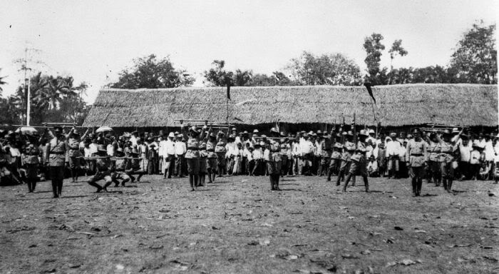 dutch queen anniversary by dutch indies police in pekalongan, 1922