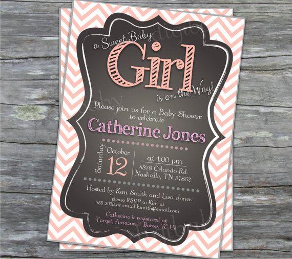 printable baby girl shower invitation chevron by DigiBabyDesign, $12.00
