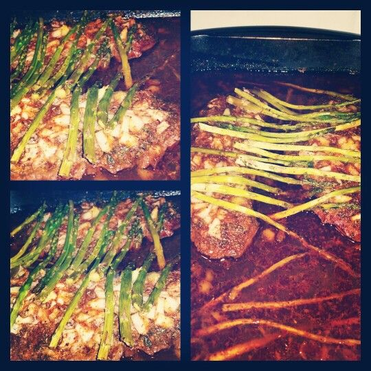London broils with asparagus...Dipped in worcestershire sauce, then seasoned with an adobo, chili powder, garlic and onion powder, parsley flakes, oregano, and paprika dry rub, and layed in a pan of beef broth..Cut slits into the meat, diced up onions and put them into the slits, and on top of the meat. Then topped with cut up asparagus, and dolloped with butter. Also poured a little more worcestershire sauce on top.