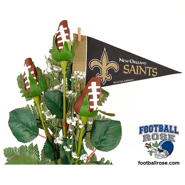 New orleans saints football rose stem arrangement
