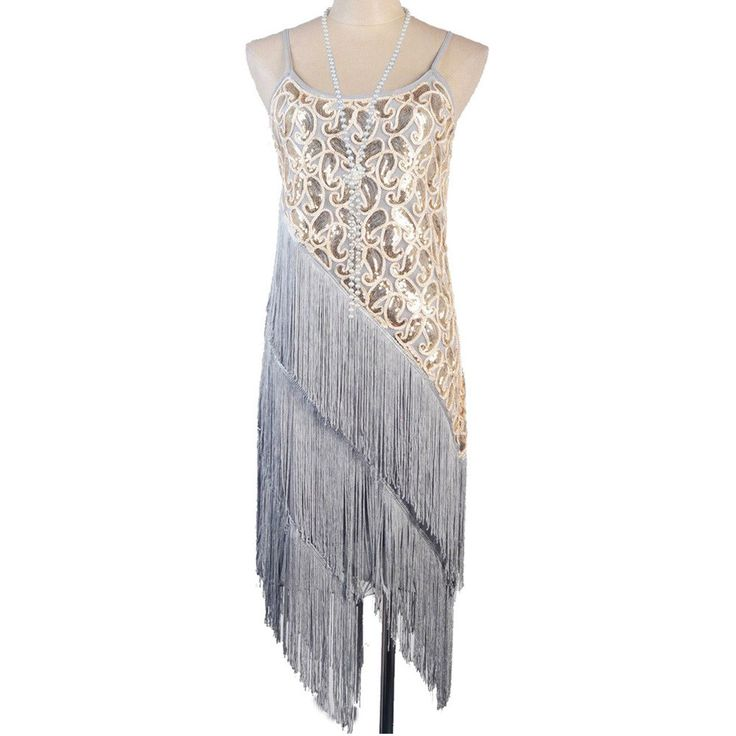 ... 1920's Gatsby Deco Champagne Beaded Feather Bridal Flapper Dress 6 NEW