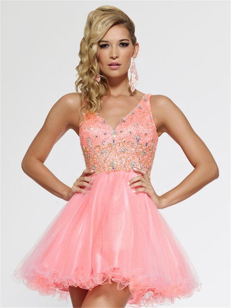 Spaghetti Strap Homecoming Dresses V-Neck Beade/Crystal Graduation Dresses Open Back Custom Free Shipping 8th Grade Prom Dresses