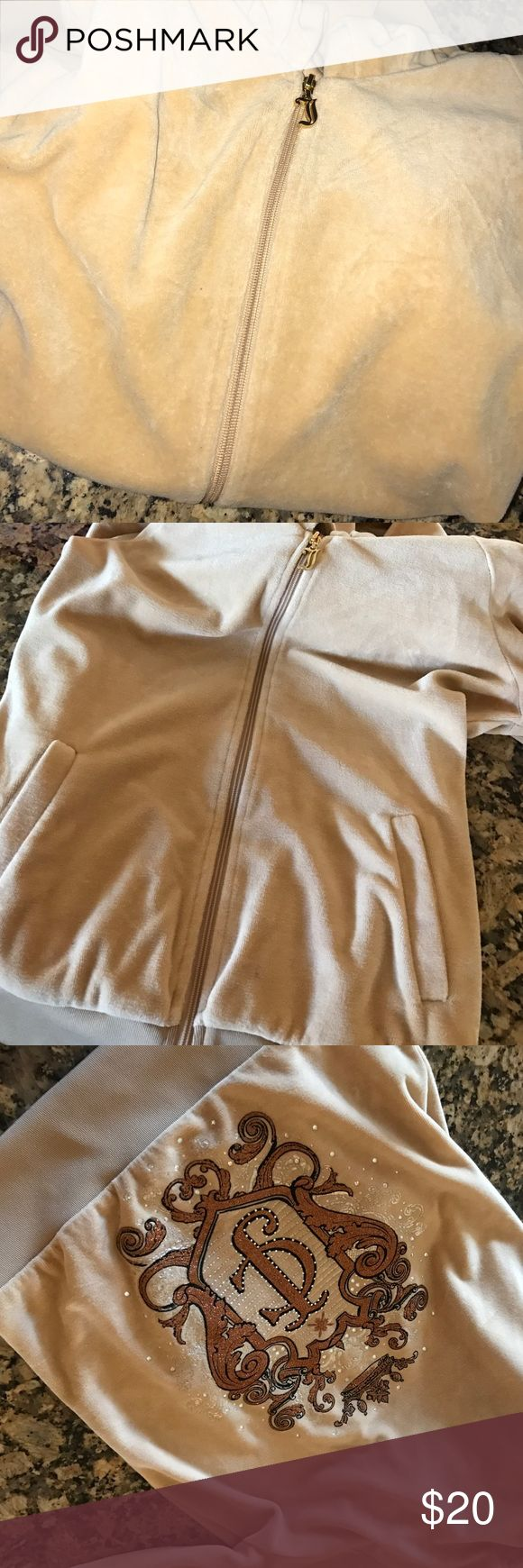 Juicy Couture Beige velour tracksuit jacket Amazing embroidery with glitter and rhinestones Juicy Couture Tops Sweatshirts & Hoodies