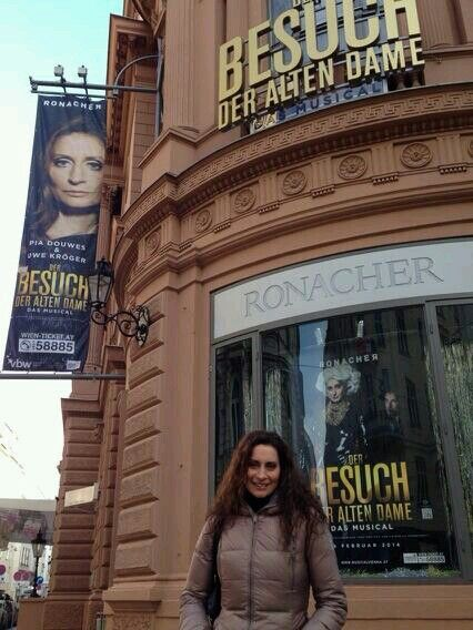 Pia Douwes in front of the Ronacher Theater, Vienna