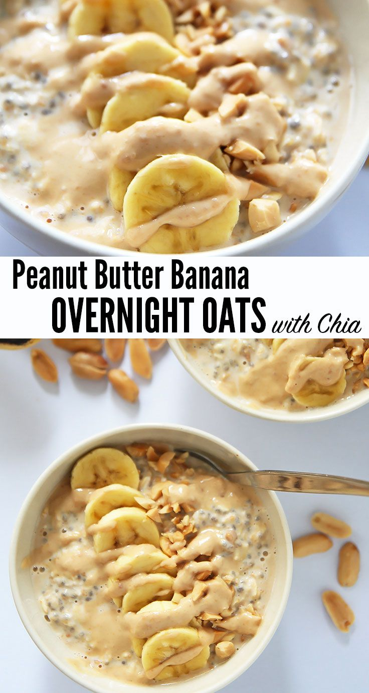 Hearty overnight oats with chia seeds flavored with peanut butter and topped with banana slices, crushed peanuts and a peanut butter drizzle. You'll be ready to tackle the day after this breakfast goodness. Can easily be made #vegan and #dairyfree: