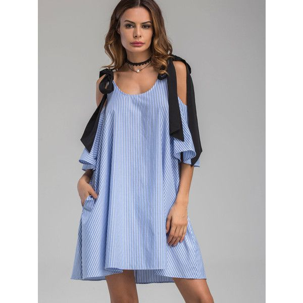 Contrast Tie Cold Shoulder Vertical Striped Dress (3.845 HUF) ❤ liked on Polyvore featuring dresses, tie dress, blue cold shoulder dress, cut out shoulder dress, vertical stripe dress and blue dress