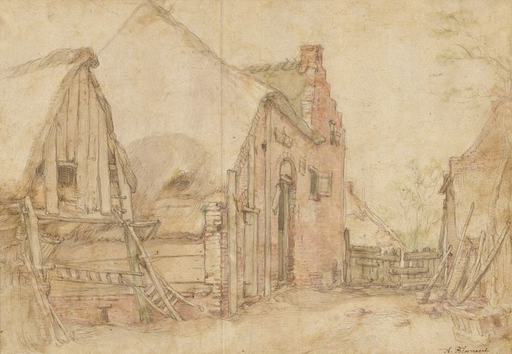 View of a Farm Courtyard (recto); Study of a Tree (verso); Abraham Bloemaert (Dutch, 1564 - 1651); Netherlands; 1600 00:00:00; Black chalk, pen and brown ink, brown wash, watercolor (recto); black chalk, pen and black ink, gray wash (verso); 23.6 × 33.8 cm (9 5/16 × 13 5/16 in.); 2007.21; J. Paul Getty Museum, Los Angeles, California