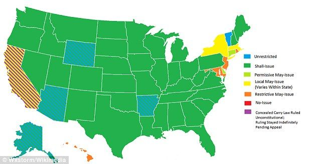 Right to bear arms: The above states in green allow residents to carry concealed weapons f...