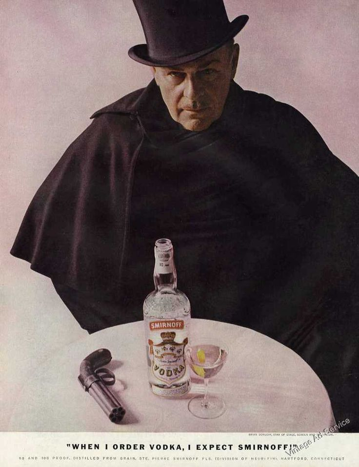 1958 Brian Donlevy Photo Unusual Smirnoff Vodka Print Ad